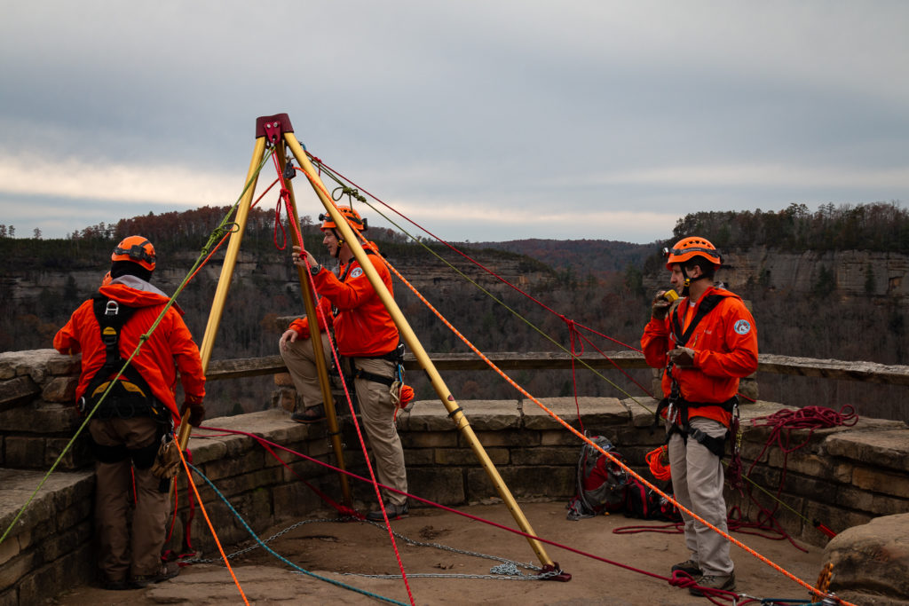 The Wolfe County Search and Rescue Team training on Chimney Rock in Red River Gorge.